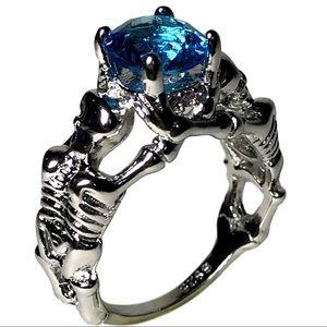 Gothic Blue Gem Silver Colored Skeleton Skull Ring
